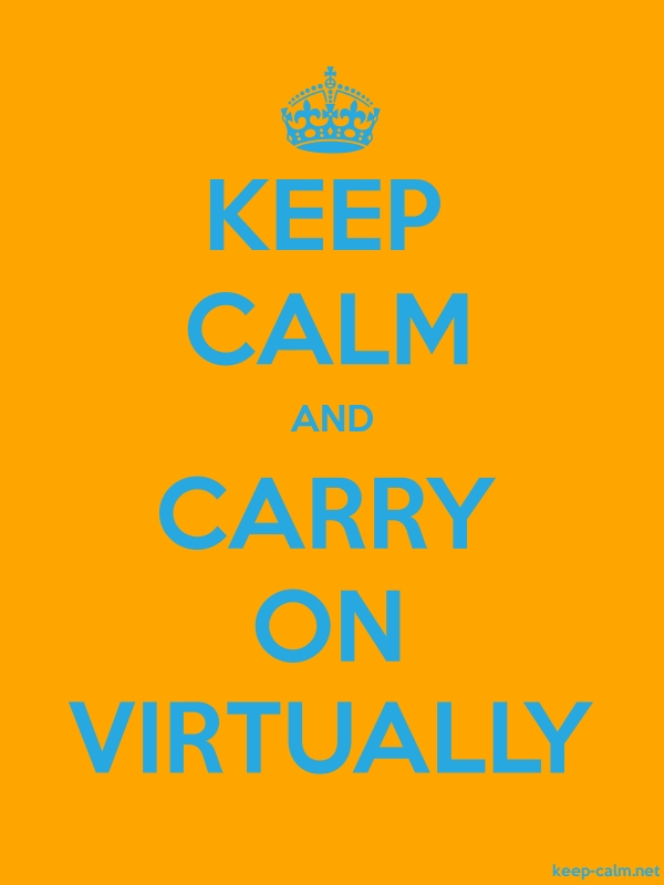 KEEP CALM AND CARRY ON VIRTUALLY - blue/orange - Default (600x800)