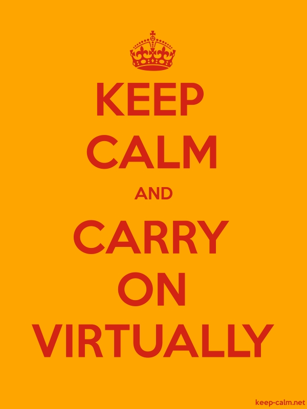 KEEP CALM AND CARRY ON VIRTUALLY - red/orange - Default (600x800)