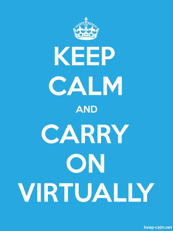 KEEP CALM AND CARRY ON VIRTUALLY - white/blue - Default (600x800)