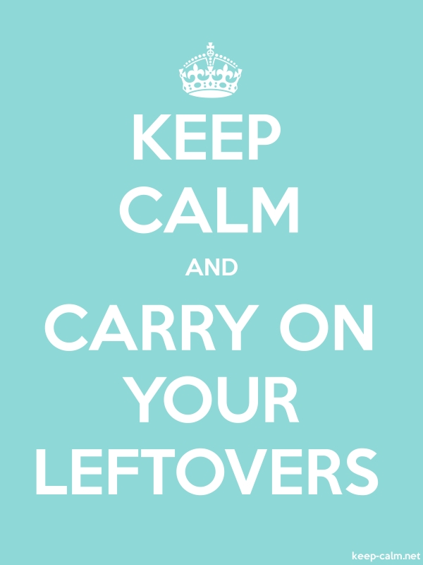KEEP CALM AND CARRY ON YOUR LEFTOVERS - white/lightblue - Default (600x800)