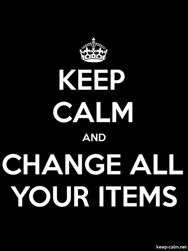KEEP CALM AND CHANGE ALL YOUR ITEMS - white/black - Default (600x800)