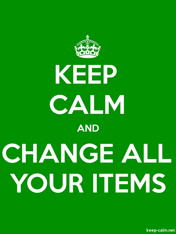 KEEP CALM AND CHANGE ALL YOUR ITEMS - white/green - Default (600x800)