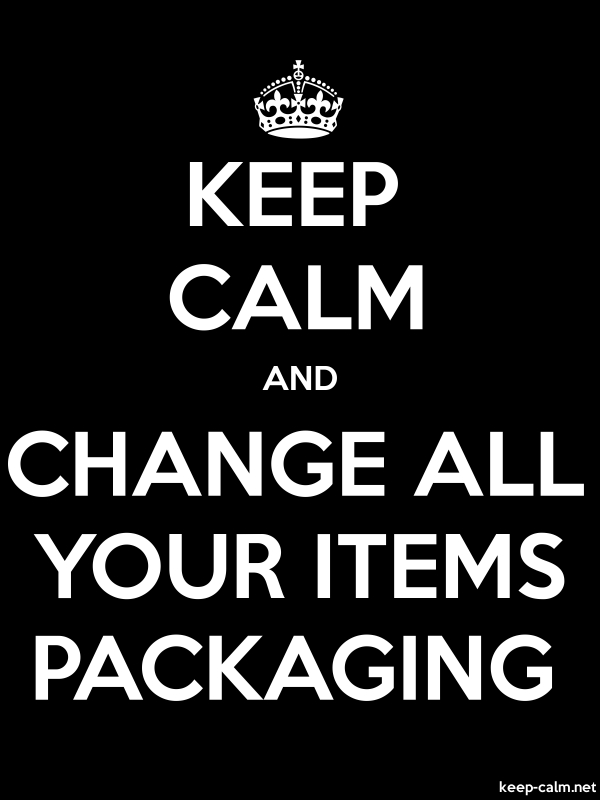KEEP CALM AND CHANGE ALL YOUR ITEMS PACKAGING - white/black - Default (600x800)