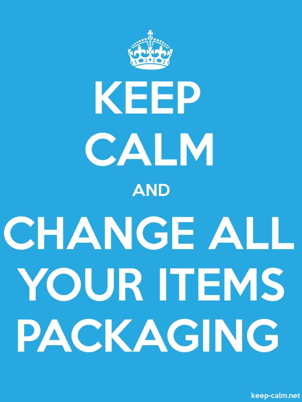 KEEP CALM AND CHANGE ALL YOUR ITEMS PACKAGING - white/blue - Default (600x800)