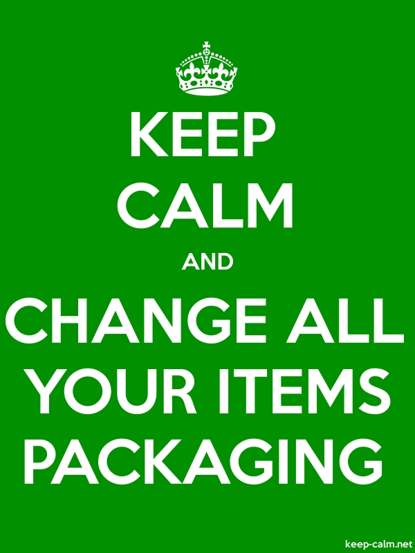 KEEP CALM AND CHANGE ALL YOUR ITEMS PACKAGING - white/green - Default (600x800)