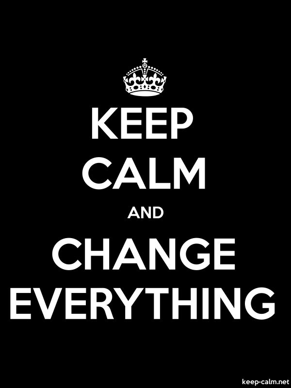 KEEP CALM AND CHANGE EVERYTHING - white/black - Default (600x800)