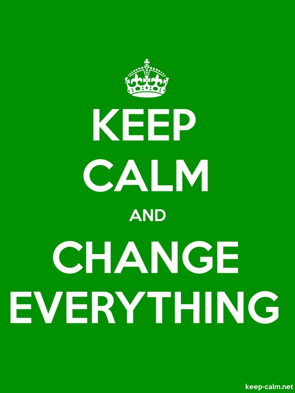 KEEP CALM AND CHANGE EVERYTHING - white/green - Default (600x800)