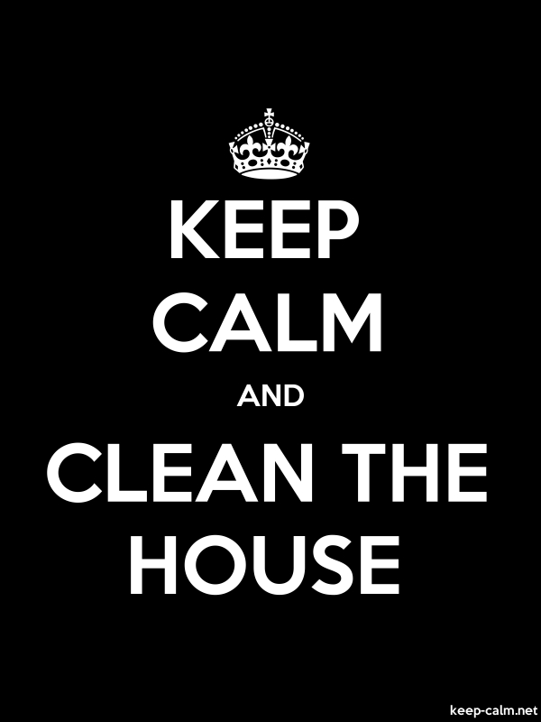 KEEP CALM AND CLEAN THE HOUSE - white/black - Default (600x800)