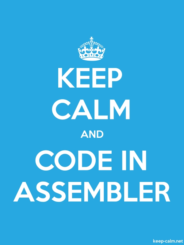 KEEP CALM AND CODE IN ASSEMBLER - white/blue - Default (600x800)