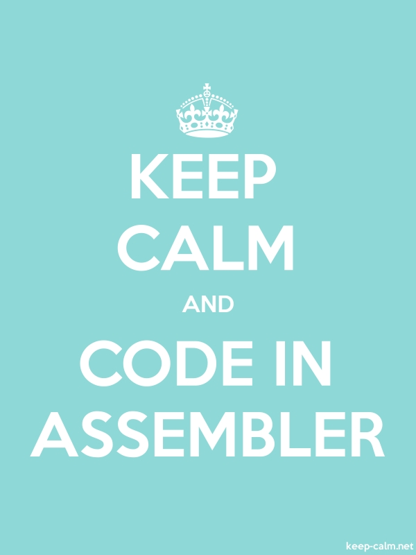 KEEP CALM AND CODE IN ASSEMBLER - white/lightblue - Default (600x800)