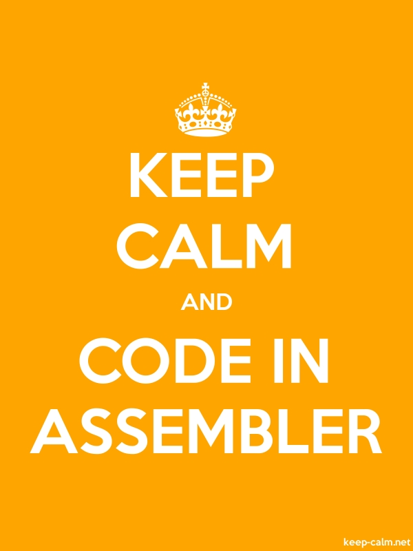 KEEP CALM AND CODE IN ASSEMBLER - white/orange - Default (600x800)