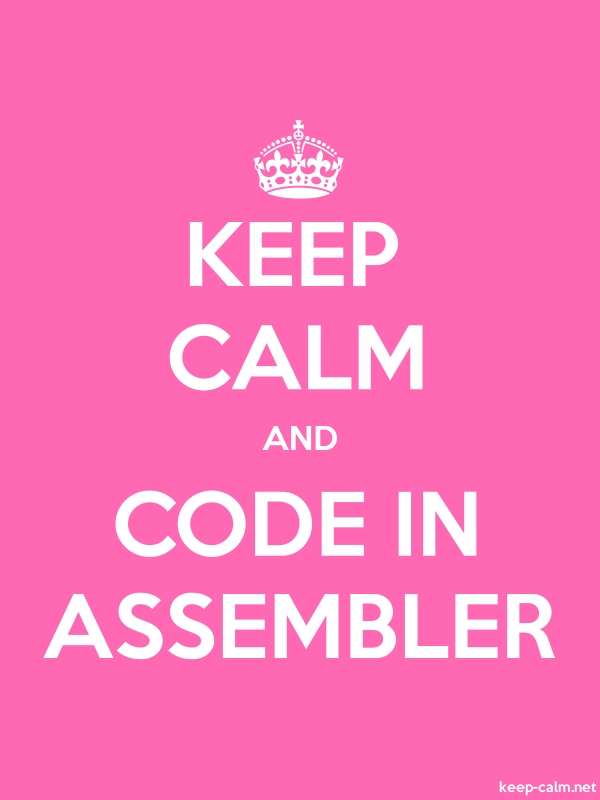 KEEP CALM AND CODE IN ASSEMBLER - white/pink - Default (600x800)