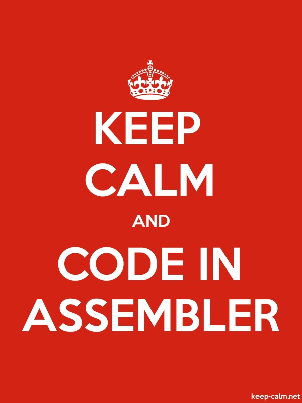 KEEP CALM AND CODE IN ASSEMBLER - white/red - Default (600x800)