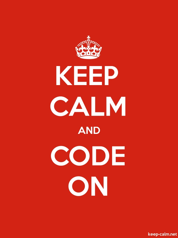 KEEP CALM AND CODE ON - white/red - Default (600x800)