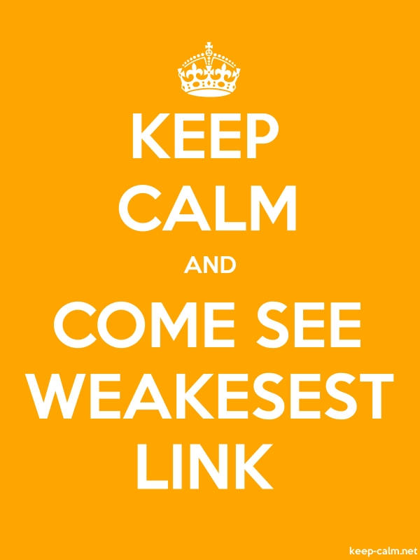 KEEP CALM AND COME SEE WEAKESEST LINK - white/orange - Default (600x800)
