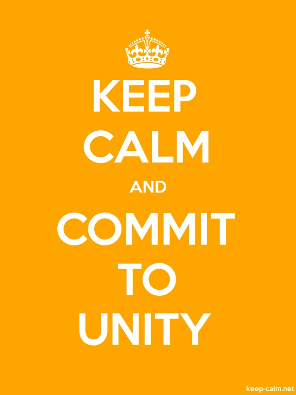 KEEP CALM AND COMMIT TO UNITY - white/orange - Default (600x800)