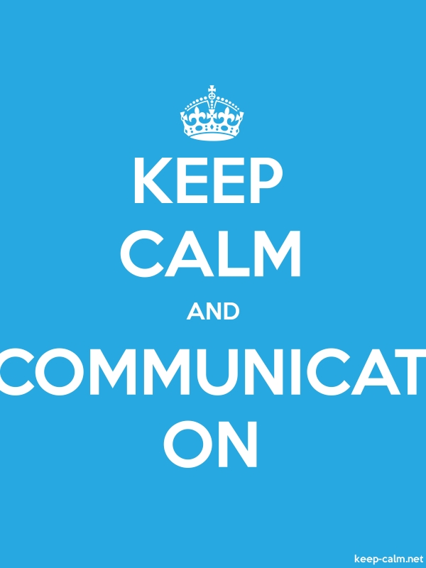 KEEP CALM AND COMMUNICAT ON - white/blue - Default (600x800)