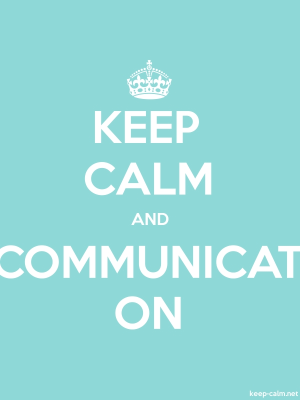KEEP CALM AND COMMUNICAT ON - white/lightblue - Default (600x800)