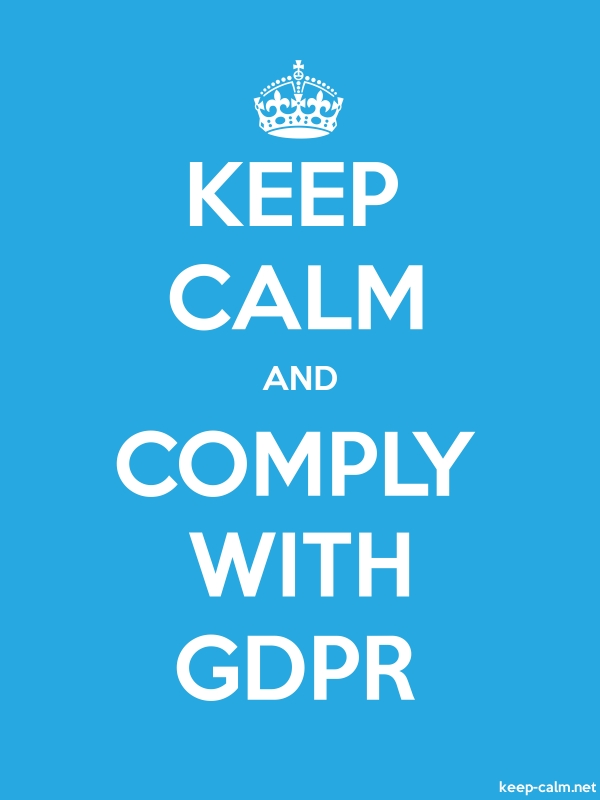 KEEP CALM AND COMPLY WITH GDPR - white/blue - Default (600x800)