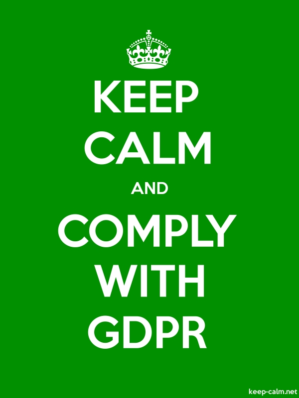 KEEP CALM AND COMPLY WITH GDPR - white/green - Default (600x800)