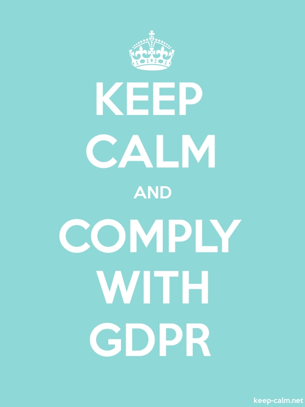 KEEP CALM AND COMPLY WITH GDPR - white/lightblue - Default (600x800)