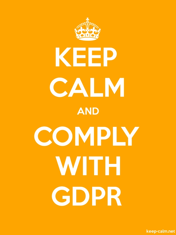 KEEP CALM AND COMPLY WITH GDPR - white/orange - Default (600x800)