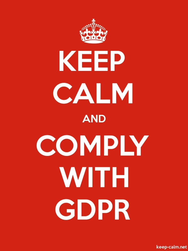 KEEP CALM AND COMPLY WITH GDPR - white/red - Default (600x800)
