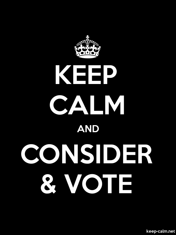 KEEP CALM AND CONSIDER & VOTE - white/black - Default (600x800)