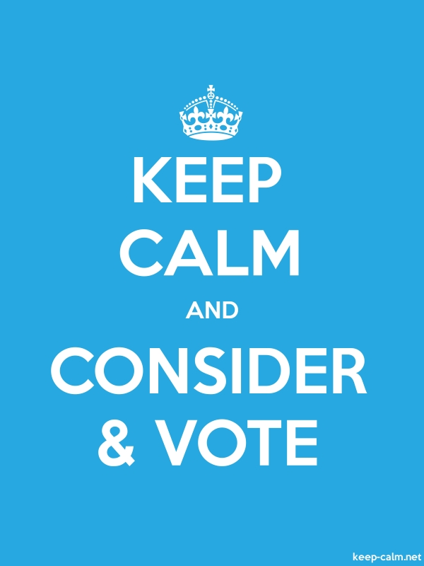 KEEP CALM AND CONSIDER & VOTE - white/blue - Default (600x800)