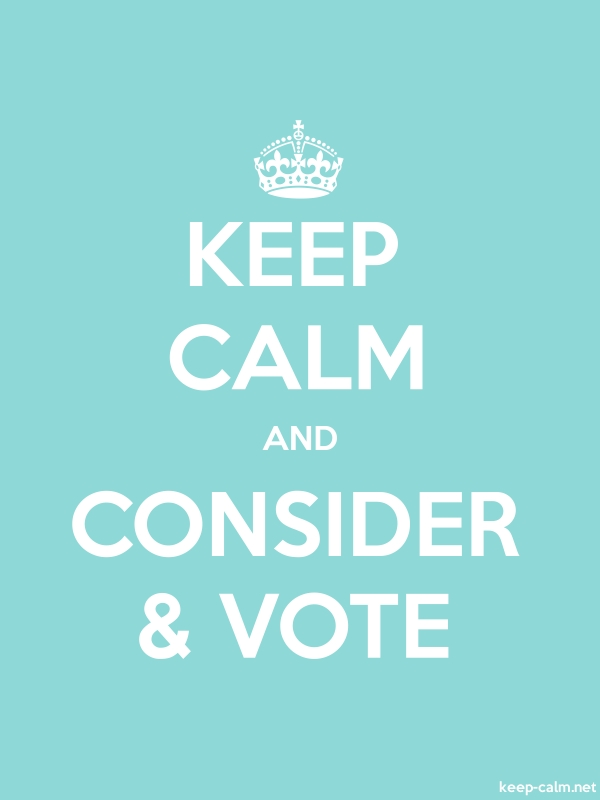 KEEP CALM AND CONSIDER & VOTE - white/lightblue - Default (600x800)