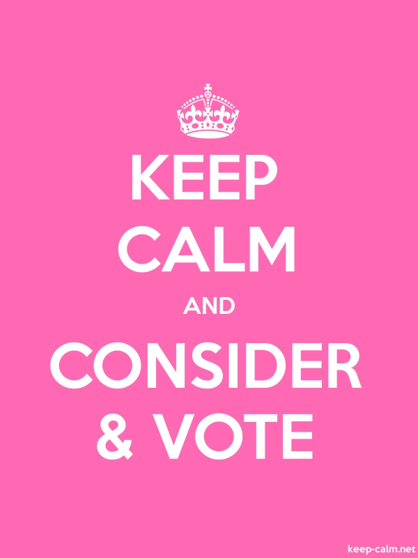 KEEP CALM AND CONSIDER & VOTE - white/pink - Default (600x800)