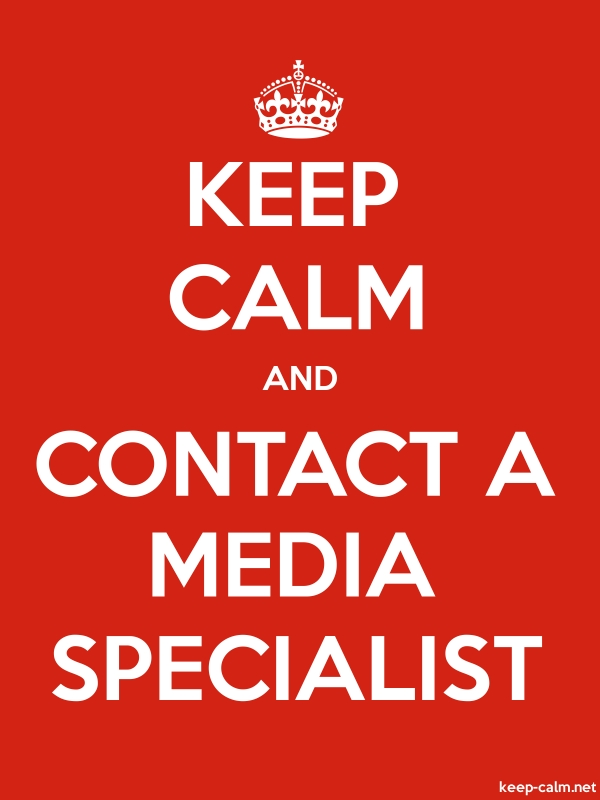 KEEP CALM AND CONTACT A MEDIA SPECIALIST - white/red - Default (600x800)