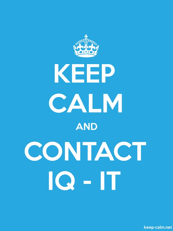 KEEP CALM AND CONTACT IQ - IT - white/blue - Default (600x800)