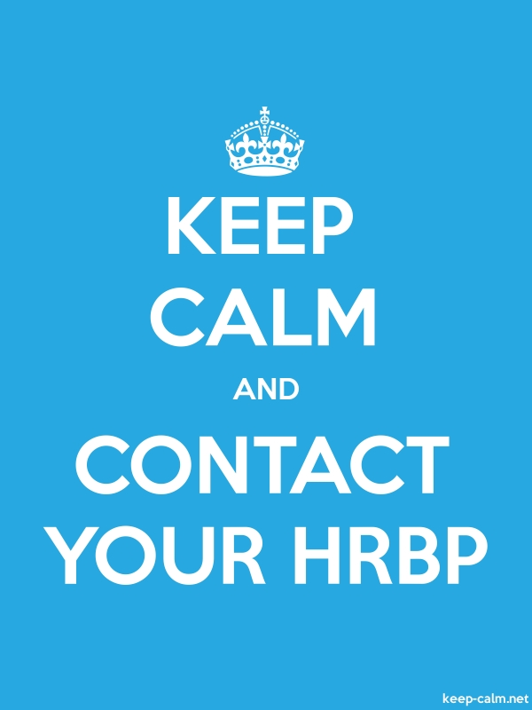 KEEP CALM AND CONTACT YOUR HRBP - white/blue - Default (600x800)