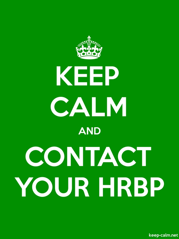 KEEP CALM AND CONTACT YOUR HRBP - white/green - Default (600x800)