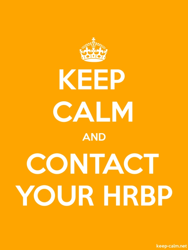 KEEP CALM AND CONTACT YOUR HRBP - white/orange - Default (600x800)
