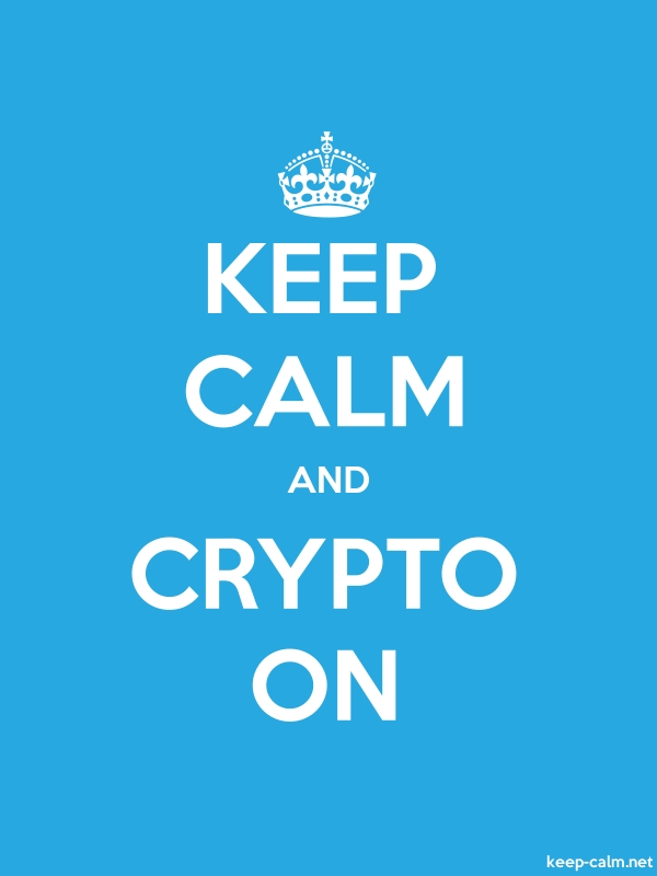 KEEP CALM AND CRYPTO ON - white/blue - Default (600x800)