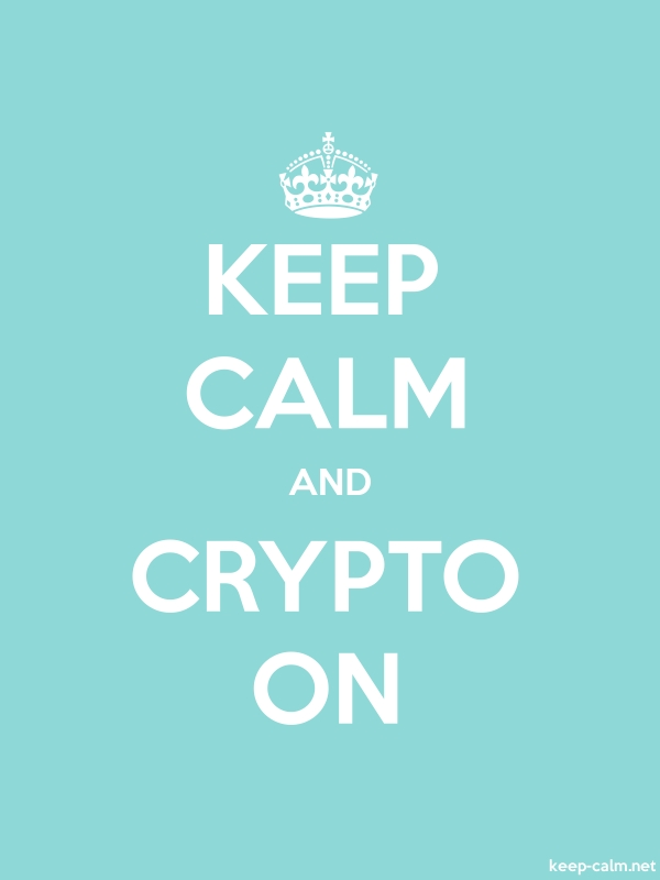 KEEP CALM AND CRYPTO ON - white/lightblue - Default (600x800)