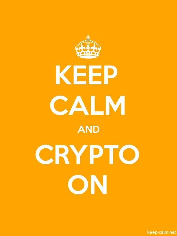 KEEP CALM AND CRYPTO ON - white/orange - Default (600x800)