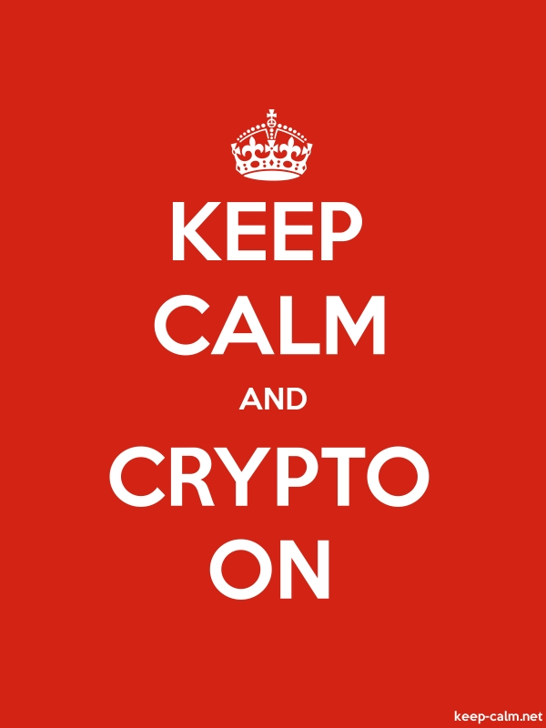 KEEP CALM AND CRYPTO ON - white/red - Default (600x800)