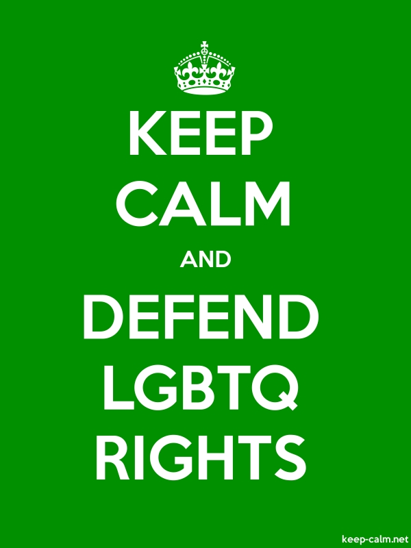 KEEP CALM AND DEFEND LGBTQ RIGHTS - white/green - Default (600x800)