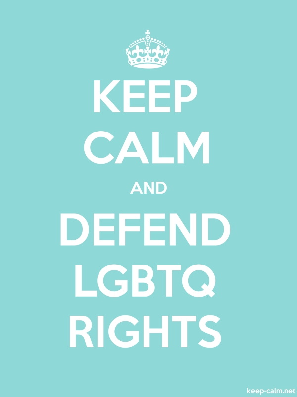 KEEP CALM AND DEFEND LGBTQ RIGHTS - white/lightblue - Default (600x800)