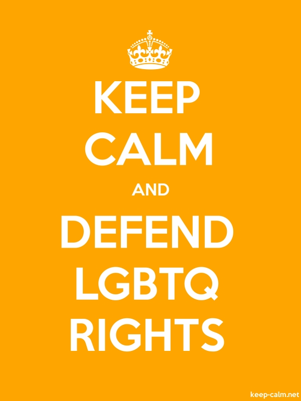 KEEP CALM AND DEFEND LGBTQ RIGHTS - white/orange - Default (600x800)