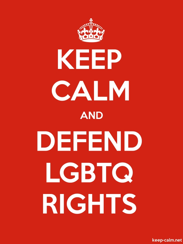 KEEP CALM AND DEFEND LGBTQ RIGHTS - white/red - Default (600x800)