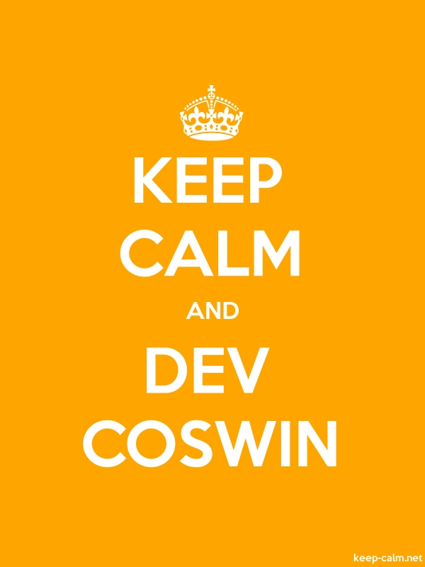 KEEP CALM AND DEV COSWIN - white/orange - Default (600x800)