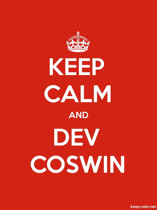 KEEP CALM AND DEV COSWIN - white/red - Default (600x800)