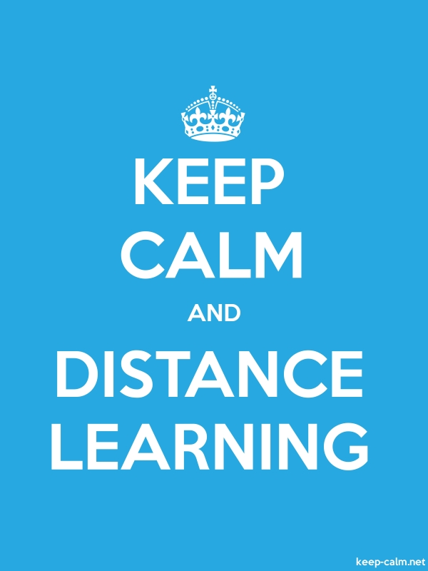 KEEP CALM AND DISTANCE LEARNING - white/blue - Default (600x800)