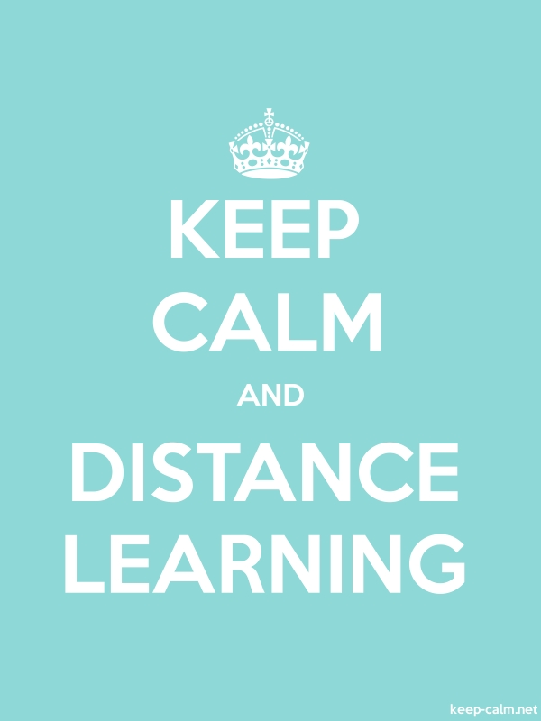 KEEP CALM AND DISTANCE LEARNING - white/lightblue - Default (600x800)