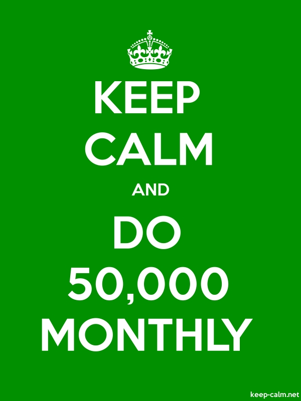 KEEP CALM AND DO 50,000 MONTHLY - white/green - Default (600x800)