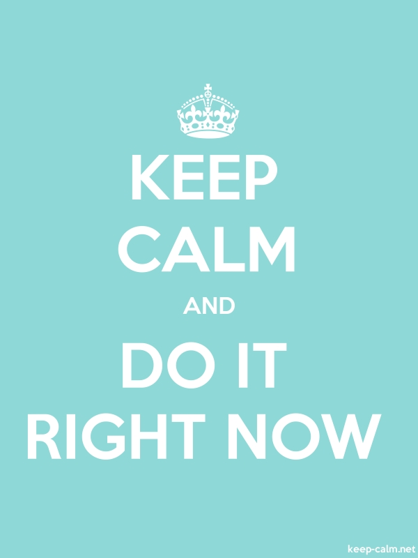 KEEP CALM AND DO IT RIGHT NOW - white/lightblue - Default (600x800)